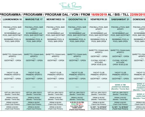 PROGRAMMA / PROGRAMM / PROGRAM DAL / VON / FROM 15/05/2016 AL /